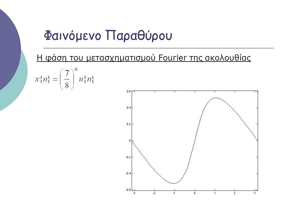 Φαινόμενο Παραθύρου Η φάση του μετασχηματισμού Fourier της ακολουθίας