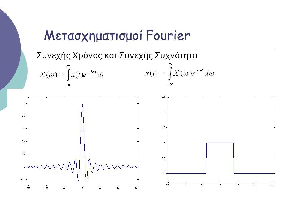 Μετασχηματισμοί Fourier Συνεχής Χρόνος και Συνεχής Συχνότητα