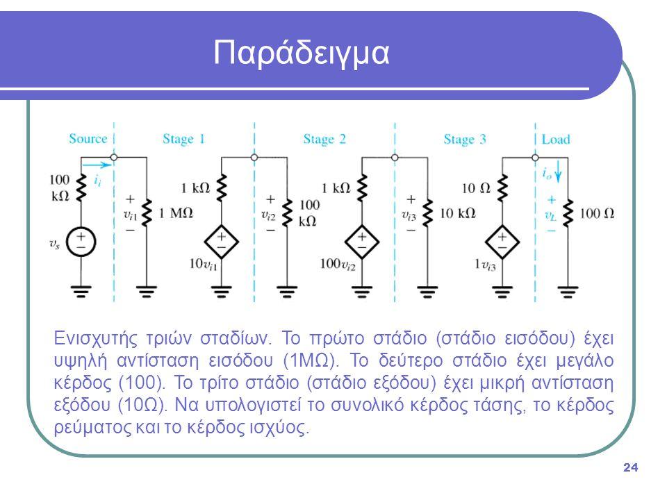Ενισχυτής τριών σταδίων. Το πρώτο στάδιο (στάδιο εισόδου) έχει υψηλή αντίσταση εισόδου (1ΜΩ). Το δεύτερο στάδιο έχει μεγάλο κέρδος (100). Το τρίτο στά