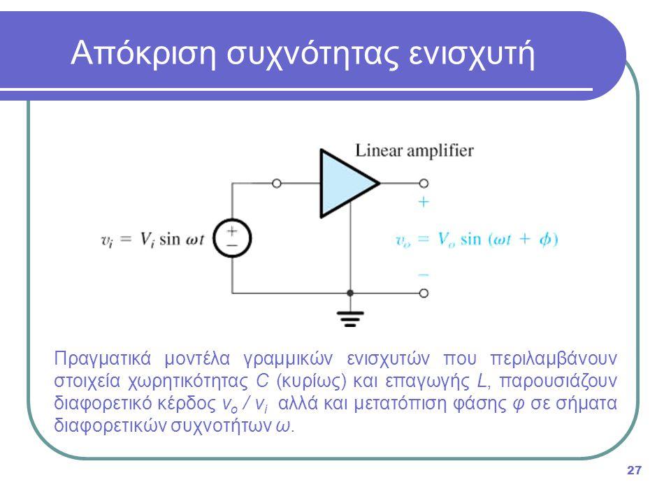 Πραγματικά μοντέλα γραμμικών ενισχυτών που περιλαμβάνουν στοιχεία χωρητικότητας C (κυρίως) και επαγωγής L, παρουσιάζουν διαφορετικό κέρδος v o / v i αλλά και μετατόπιση φάσης φ σε σήματα διαφορετικών συχνοτήτων ω.