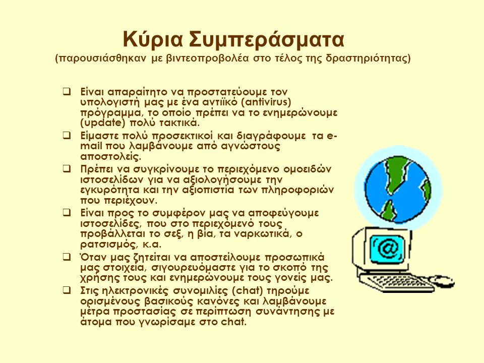 Οι ερωτήσεις του τεστ (απαντήθηκε ατομικά από κάθε μαθητή online μέσω Internet) 1.