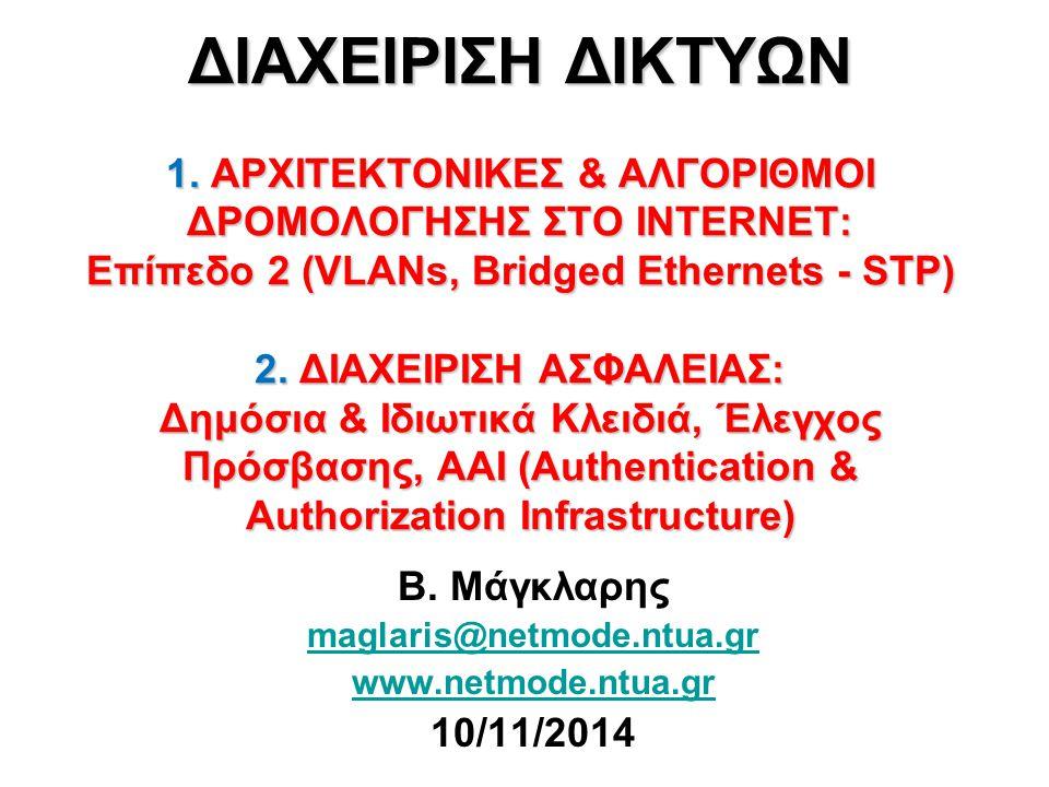 ΔΙΑΧΕΙΡΙΣΗ ΔΙΚΤΥΩΝ 1. ΑΡΧΙΤΕΚΤΟΝΙΚΕΣ & ΑΛΓΟΡΙΘΜΟΙ ΔΡΟΜΟΛΟΓΗΣΗΣ ΣΤΟ INTERNET: Επίπεδο 2 (VLANs, Bridged Ethernets - STP) 2. ΔΙΑΧΕΙΡΙΣΗ ΑΣΦΑΛΕΙΑΣ: Δημόσ