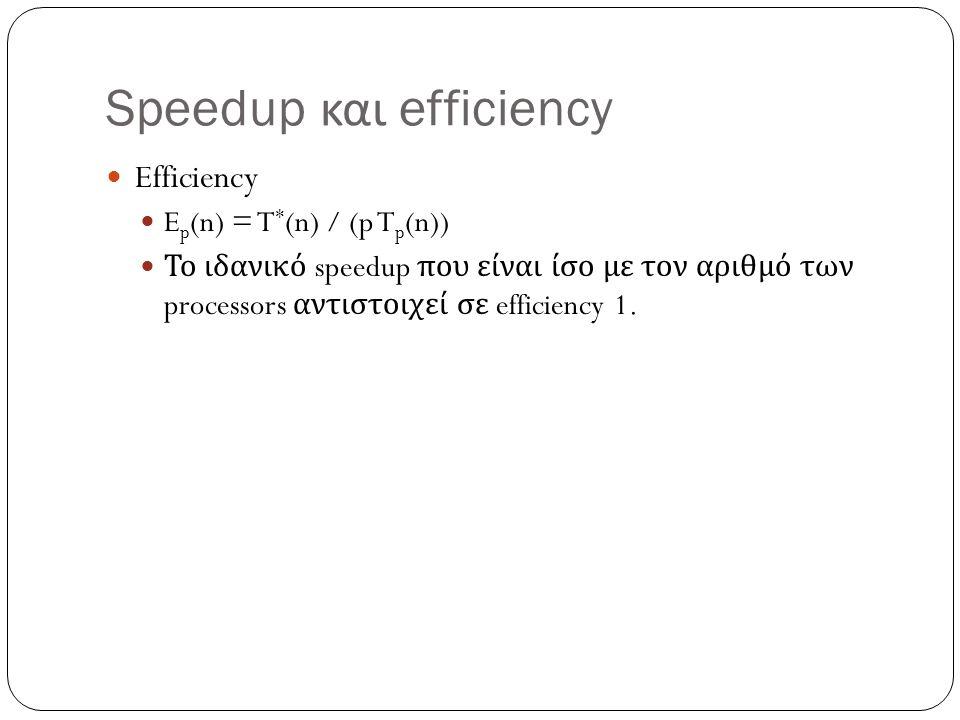 Speedup και efficiency Efficiency E p (n) = T * (n) / (p T p (n)) Το ιδανικό speedup που είναι ίσο με τον αριθμό των processors αντιστοιχεί σε efficie