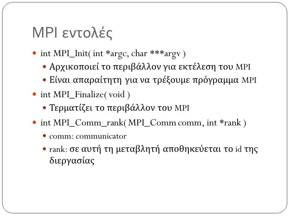 MPI εντολές int MPI_Init( int *argc, char ***argv ) Αρχικοποιεί το περιβάλλον για εκτέλεση του MPI Είναι απαραίτητη για να τρέξουμε πρόγραμμα MPI int