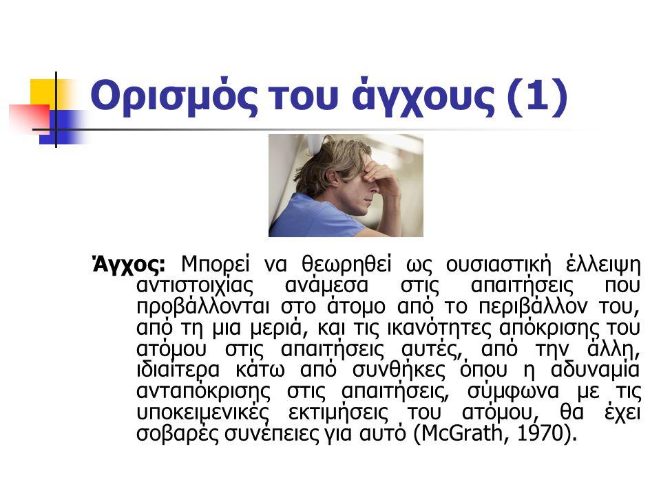Ορισμός του άγχους (2) Άγχος: Είναι μια αρνητική συναισθηματική αντίδραση (π.χ.