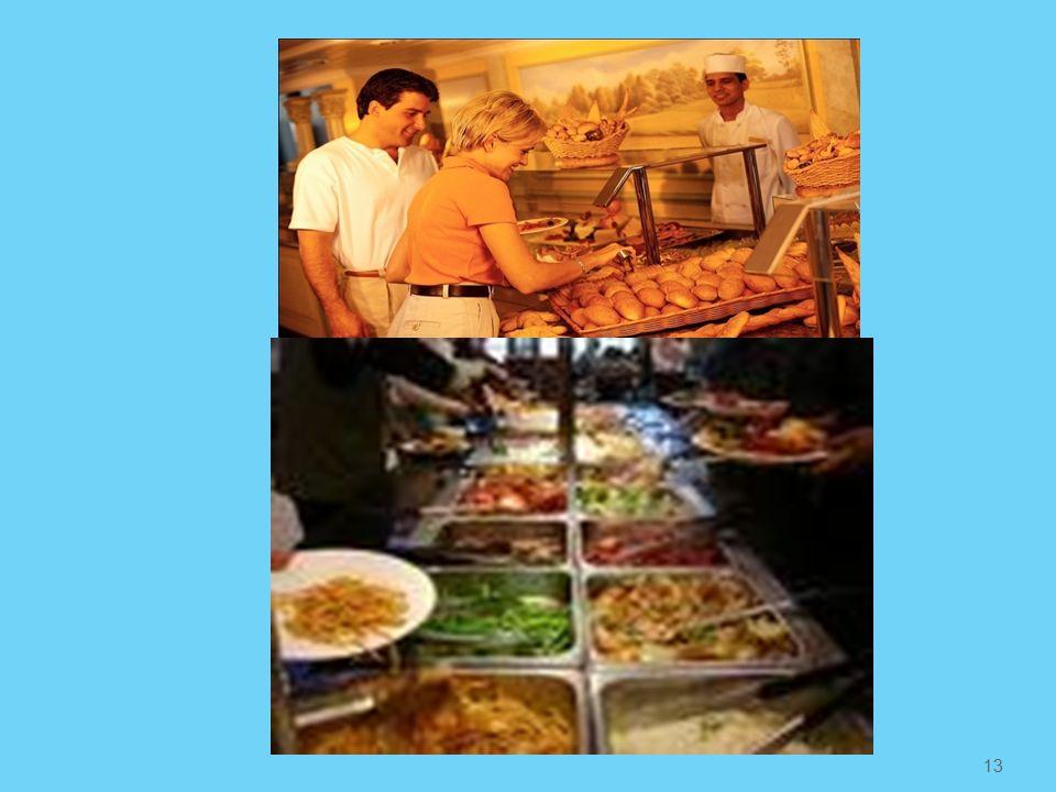 Παράθεση Μπουφέ Σε κάθε θέση για πελάτη τοποθετούνται σερβίτσια για ορεκτικό, σούπα, κύριο πιάτο και επιδόρπιο, ποτήρια νερού κρασιού και πετσέτα Τα τραπέζια του μπουφέ τοποθετούνται ανεξάρτητα ή σε σχήματα Τα επιδόρπια σε ξεχωριστό μπουφέ Στην αρχή του μπουφέ τοποθετούνται τα πιάτα Τα φαγητά τοποθετούνται στο μπουφέ με σειρά Κρύα ορεκτικά, σαλάτες, καθρέφτες, σούπα, ζεστά φαγητά σε ρεσό και ολόκληρα κρέατα ή ψάρια για τεμαχισμό και στο τέλος επιδόρπια σε ειδικά ψυγεία μπουφέ.