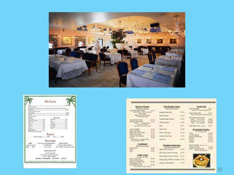 Παράθεση φαγητών από κατάλογο εστιατορίου (Α la carte) Ο πελάτης μπορεί να παραγγείλει ελεύθερα από το μενού του εστιατορίου Τα τραπέζια είναι στρωμένα με το βασικό κουβέρ και διορθώνουμε αναλόγως της παραγγελίας Γνωρίζομαι τι έχει παραγγείλει κάθε πελάτης και σερβίρομε απλώς επιβεβαιώνοντας Για κάθε αποκόμιση πρέπει να βεβαιωνόμαστε ότι έχουν τελειώσει όλοι οι πελάτες στο τραπέζι Όταν τελειώνει το ψωμί και το κρασί περνάμε και συμπληρώνουμε 21