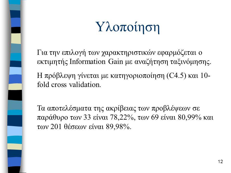 12 Υλοποίηση Για την επιλογή των χαρακτηριστικών εφαρμόζεται ο εκτιμητής Information Gain με αναζήτηση ταξινόμησης.