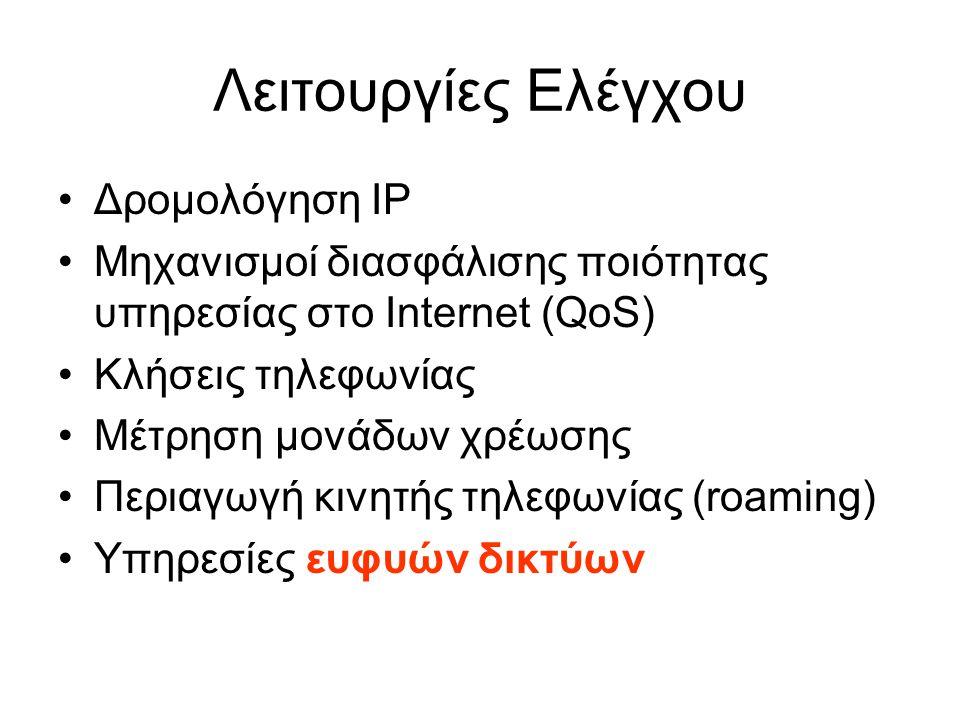 Λειτουργίες Ελέγχου Δρομολόγηση IP Μηχανισμοί διασφάλισης ποιότητας υπηρεσίας στο Internet (QoS) Κλήσεις τηλεφωνίας Μέτρηση μονάδων χρέωσης Περιαγωγή
