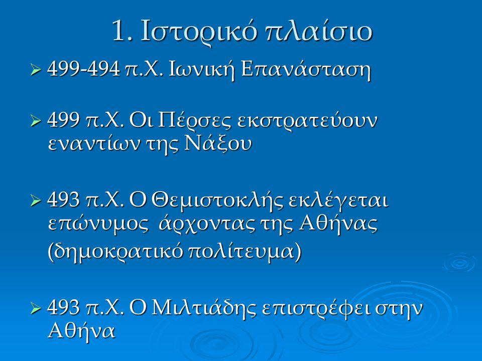  499-494 π.Χ. Ιωνική Επανάσταση  499 π.Χ. Οι Πέρσες εκστρατεύουν εναντίων της Νάξου  493 π.Χ. Ο Θεμιστοκλής εκλέγεται επώνυμος άρχοντας της Αθήνας