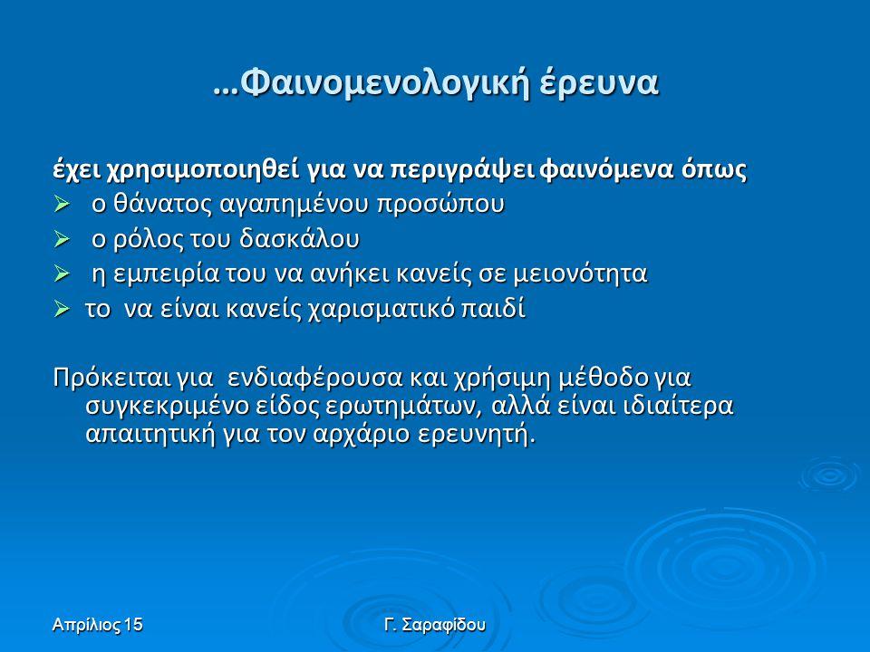 Απρίλιος 15Γ. Σαραφίδου …Φαινομενολογική έρευνα έχει χρησιμοποιηθεί για να περιγράψει φαινόμενα όπως  ο θάνατος αγαπημένου προσώπου  ο ρόλος του δασ