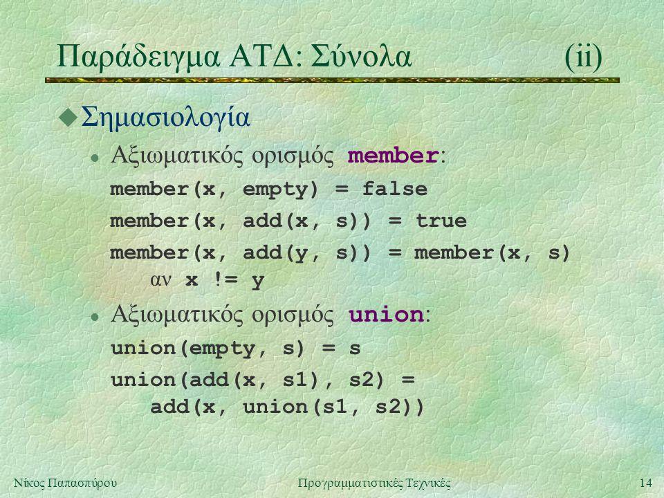 14Νίκος ΠαπασπύρουΠρογραμματιστικές Τεχνικές Παράδειγμα ΑΤΔ: Σύνολα(ii) u Σημασιολογία Αξιωματικός ορισμός member : member(x, empty) = false member(x, add(x, s)) = true member(x, add(y, s)) = member(x, s) αν x != y Αξιωματικός ορισμός union : union(empty, s) = s union(add(x, s1), s2) = add(x, union(s1, s2))