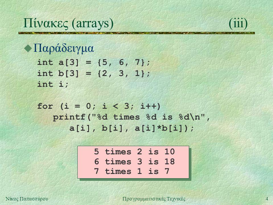 4Νίκος ΠαπασπύρουΠρογραμματιστικές Τεχνικές Πίνακες (arrays)(iii) u Παράδειγμα int a[3] = {5, 6, 7}; int b[3] = {2, 3, 1}; int i; for (i = 0; i < 3; i++) printf( %d times %d is %d\n , a[i], b[i], a[i]*b[i]); 5 times 2 is 10 6 times 3 is 18 7 times 1 is 7 5 times 2 is 10 6 times 3 is 18 7 times 1 is 7