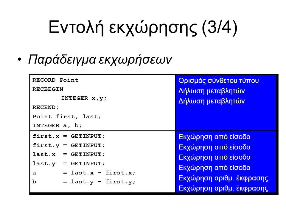 Εντολή εκχώρησης (3/4) Παράδειγμα εκχωρήσεων RECORD Point RECBEGIN INTEGER x,y; RECEND; Point first, last; INTEGER a, b; Ορισμός σύνθετου τύπου Δήλωση μεταβλητών first.x = GETINPUT; first.y = GETINPUT; last.x = GETINPUT; last.y = GETINPUT; a = last.x - first.x; b = last.y – first.y; Εκχώρηση από είσοδο Εκχώρηση αριθμ.