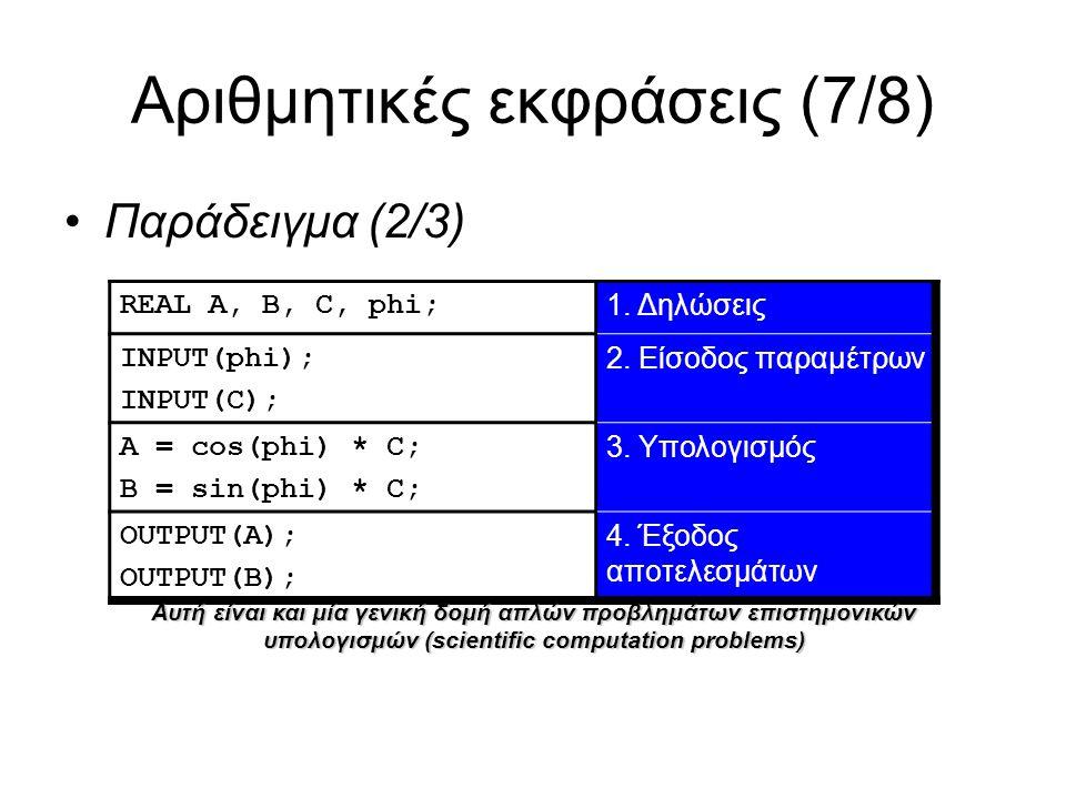 Αριθμητικές εκφράσεις (7/8) Παράδειγμα (2/3) REAL A, B, C, phi; 1.