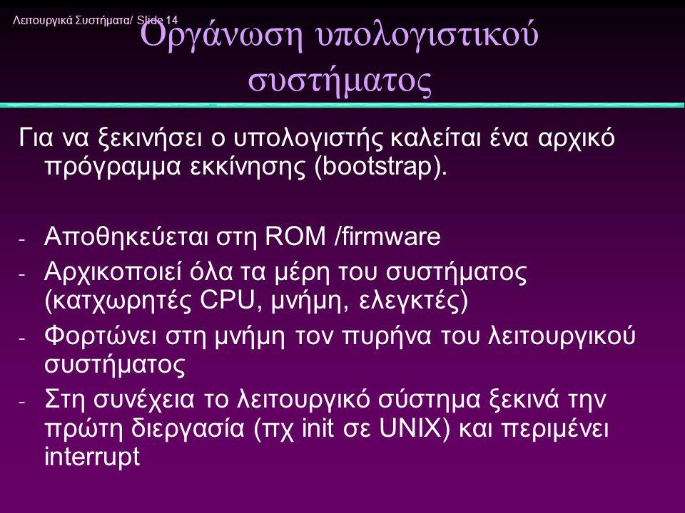 Λειτουργικά Συστήματα/ Slide 14 Οργάνωση υπολογιστικού συστήματος Για να ξεκινήσει ο υπολογιστής καλείται ένα αρχικό πρόγραμμα εκκίνησης (bootstrap).