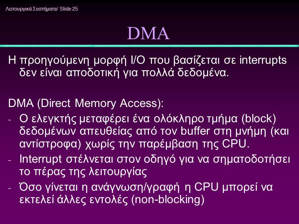 Λειτουργικά Συστήματα/ Slide 25 DMA H προηγούμενη μορφή I/O που βασίζεται σε interrupts δεν είναι αποδοτική για πολλά δεδομένα. DMA (Direct Memory Acc