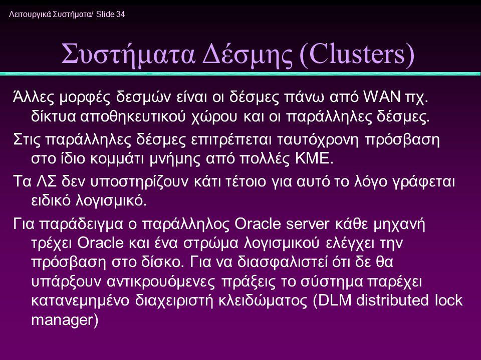 Λειτουργικά Συστήματα/ Slide 34 Συστήματα Δέσμης (Clusters) Άλλες μορφές δεσμών είναι οι δέσμες πάνω από WAN πχ. δίκτυα αποθηκευτικού χώρου και οι παρ