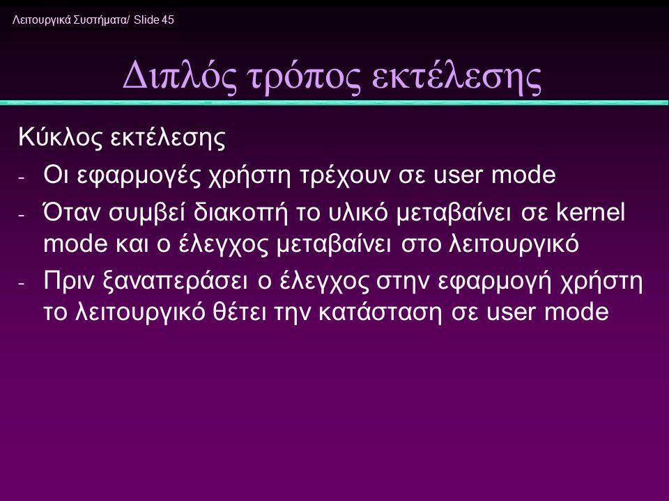 Λειτουργικά Συστήματα/ Slide 45 Διπλός τρόπος εκτέλεσης Κύκλος εκτέλεσης - Οι εφαρμογές χρήστη τρέχουν σε user mode - Όταν συμβεί διακοπή το υλικό μετ