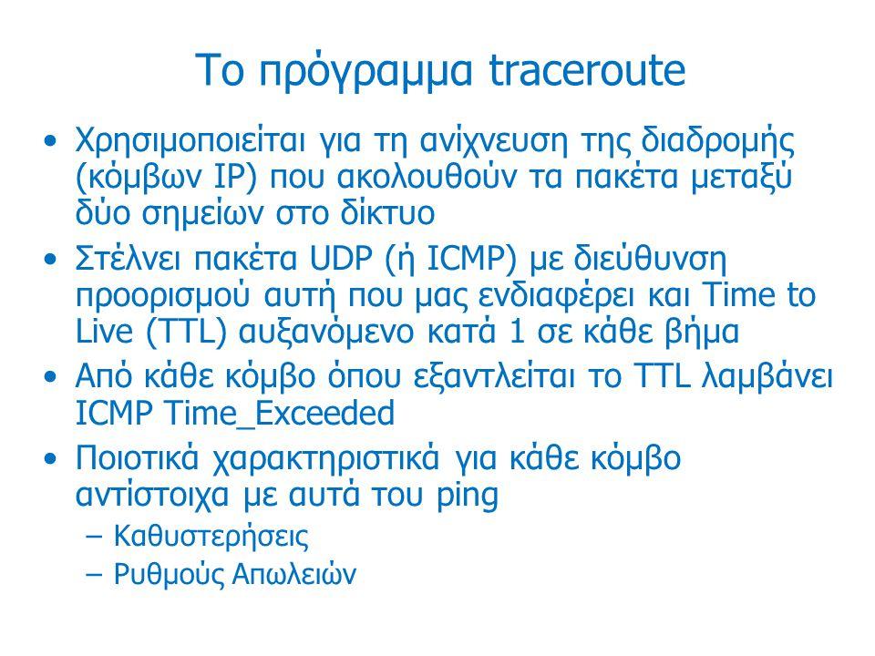 Το πρόγραμμα traceroute Χρησιμοποιείται για τη ανίχνευση της διαδρομής (κόμβων IP) που ακολουθούν τα πακέτα μεταξύ δύο σημείων στο δίκτυο Στέλνει πακέτα UDP (ή ICMP) με διεύθυνση προορισμού αυτή που μας ενδιαφέρει και Time to Live (TTL) αυξανόμενο κατά 1 σε κάθε βήμα Από κάθε κόμβο όπου εξαντλείται το TTL λαμβάνει ICMP Time_Exceeded Ποιοτικά χαρακτηριστικά για κάθε κόμβο αντίστοιχα με αυτά του ping –Καθυστερήσεις –Ρυθμούς Απωλειών