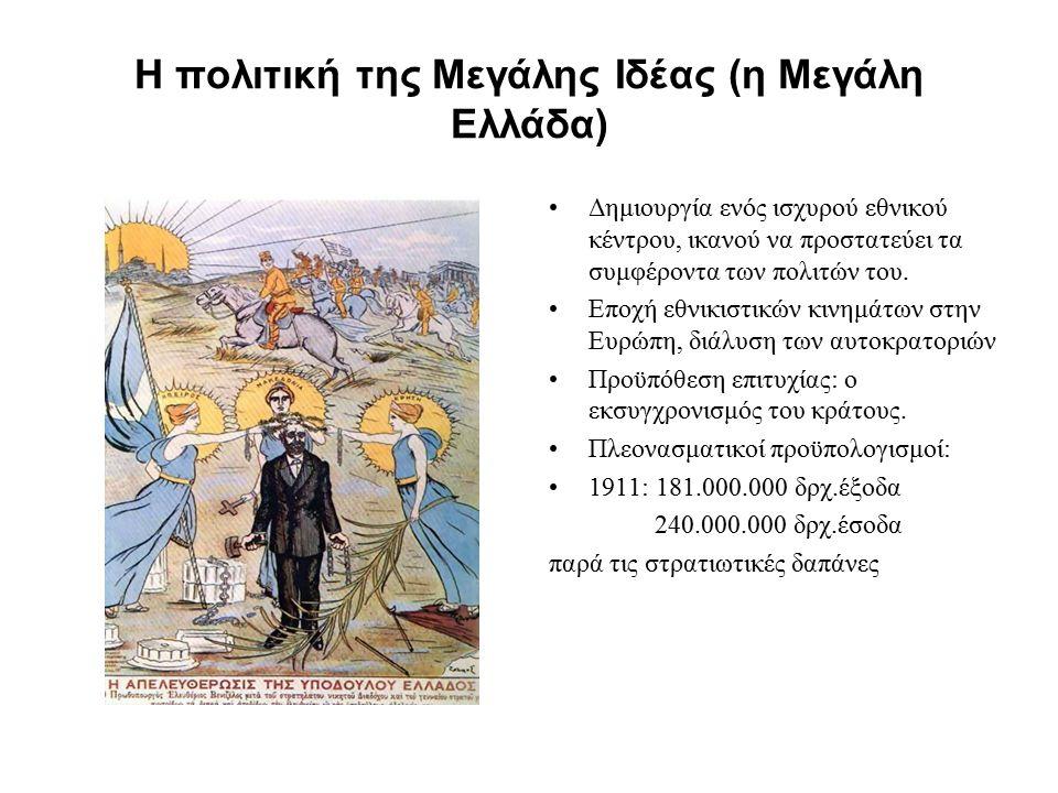 Η πολιτική της Μεγάλης Ιδέας (η Μεγάλη Ελλάδα) Δημιουργία ενός ισχυρού εθνικού κέντρου, ικανού να προστατεύει τα συμφέροντα των πολιτών του. Εποχή εθν