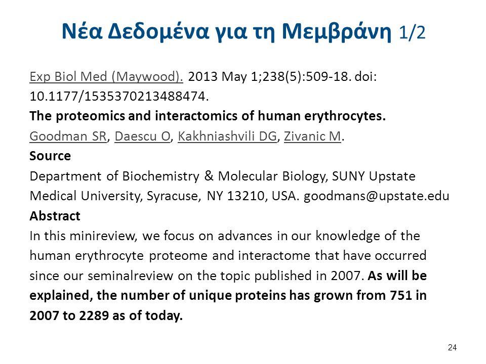 Νέα Δεδομένα για τη Μεμβράνη 1/2 Exp Biol Med (Maywood).Exp Biol Med (Maywood). 2013 May 1;238(5):509-18. doi: 10.1177/1535370213488474. The proteomic