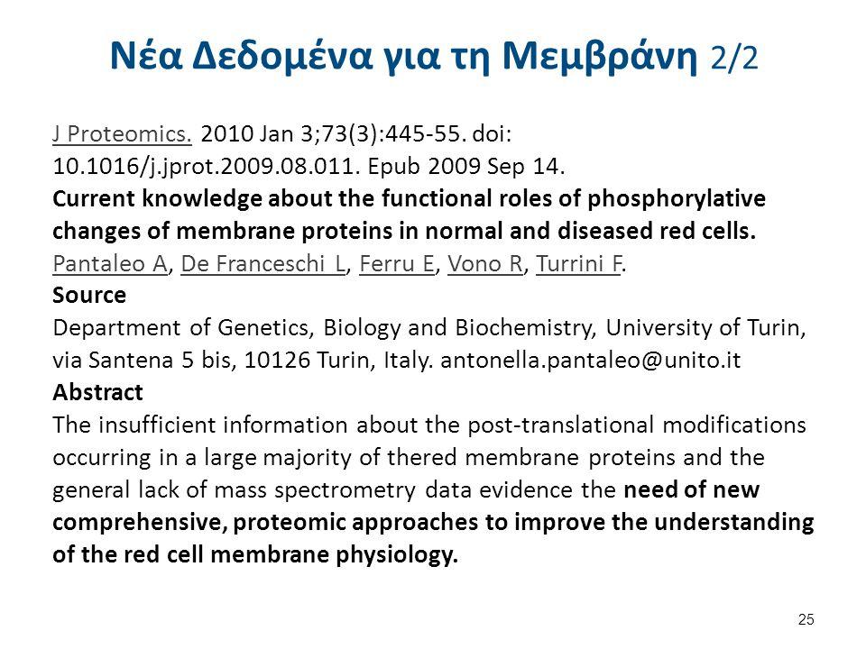 Νέα Δεδομένα για τη Μεμβράνη 2/2 J Proteomics.J Proteomics. 2010 Jan 3;73(3):445-55. doi: 10.1016/j.jprot.2009.08.011. Epub 2009 Sep 14. Current knowl
