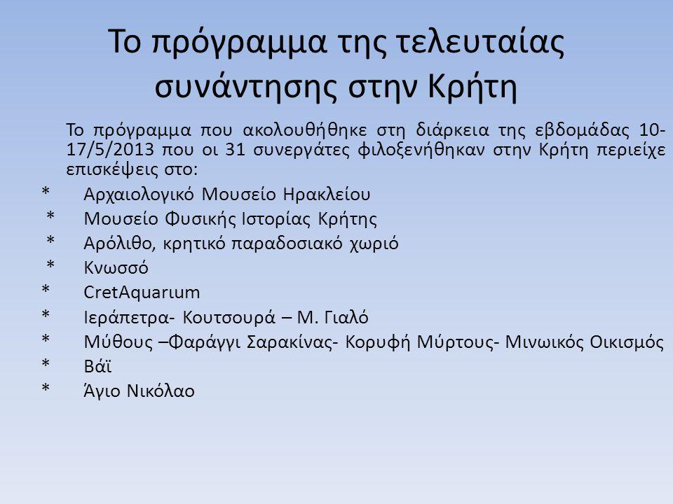 Το πρόγραμμα της τελευταίας συνάντησης στην Κρήτη Το πρόγραμμα που ακολουθήθηκε στη διάρκεια της εβδομάδας 10- 17/5/2013 που οι 31 συνεργάτες φιλοξενή