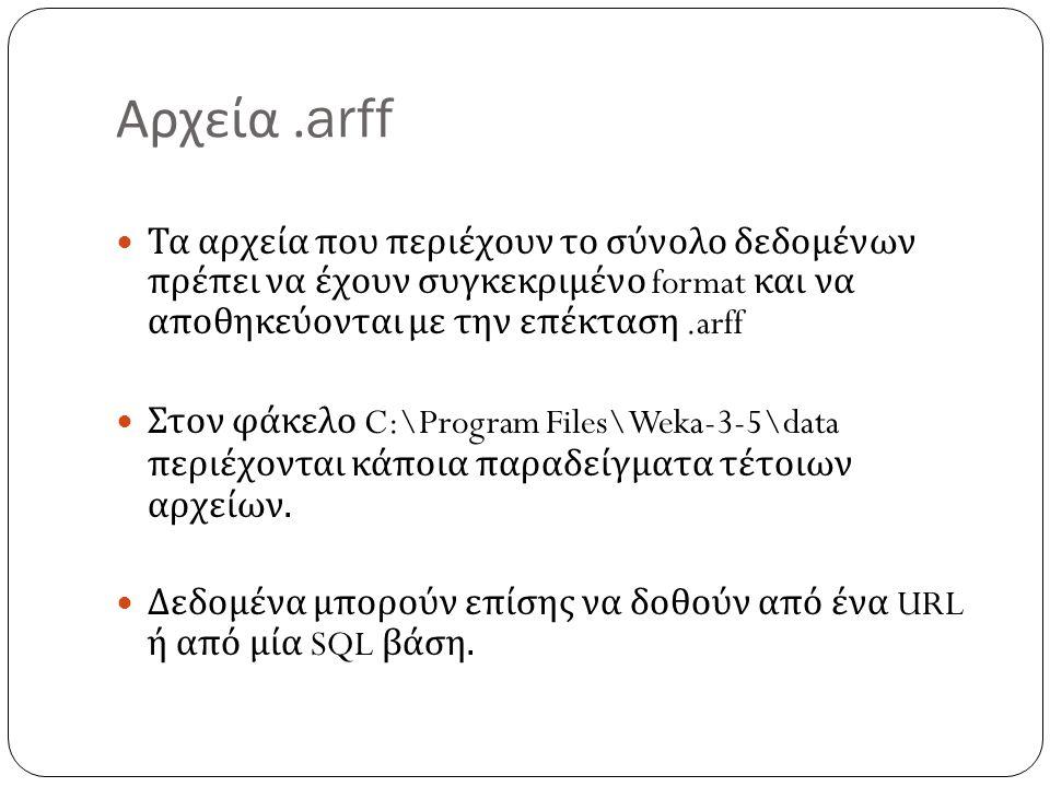 Αρχεία.arff Τα αρχεία που περιέχουν το σύνολο δεδομένων πρέπει να έχουν συγκεκριμένο format και να αποθηκεύονται με την επέκταση.arff Στον φάκελο C:\P