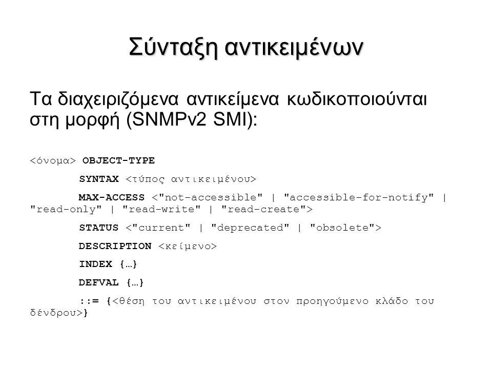 Σύνταξη αντικειμένων Τα διαχειριζόμενα αντικείμενα κωδικοποιούνται στη μορφή (SNMPv2 SMI): OBJECT-TYPE SYNTAX MAX-ACCESS STATUS DESCRIPTION INDEX {…}