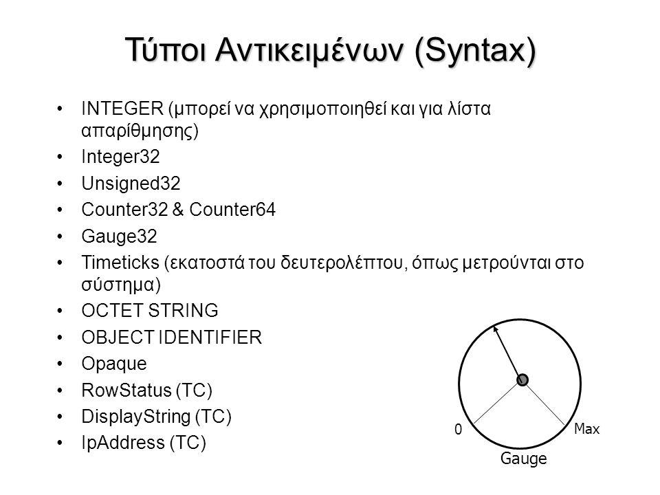 Τύποι Αντικειμένων (Syntax) INTEGER (μπορεί να χρησιμοποιηθεί και για λίστα απαρίθμησης) Integer32 Unsigned32 Counter32 & Counter64 Gauge32 Timeticks