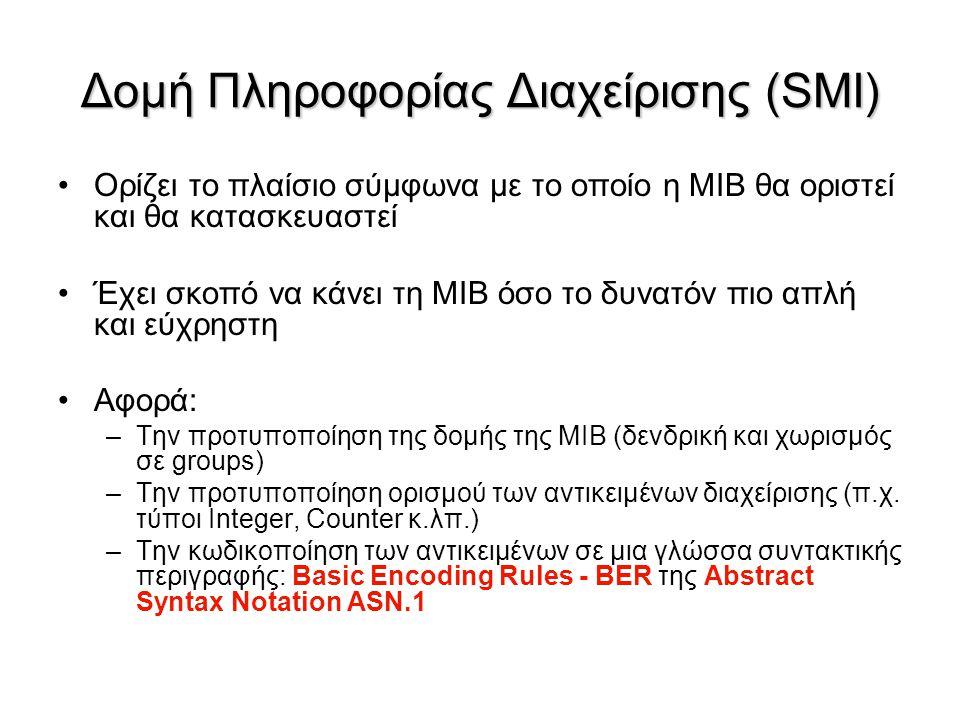 Δομή Πληροφορίας Διαχείρισης (SMI) Ορίζει το πλαίσιο σύμφωνα με το οποίο η MIB θα οριστεί και θα κατασκευαστεί Έχει σκοπό να κάνει τη MIB όσο το δυνατ