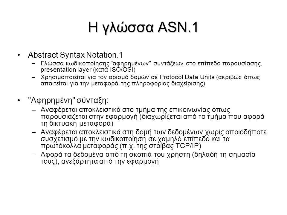 Η γλώσσα ASN.1 Abstract Syntax Notation.1 –Γλώσσα κωδικοποίησης