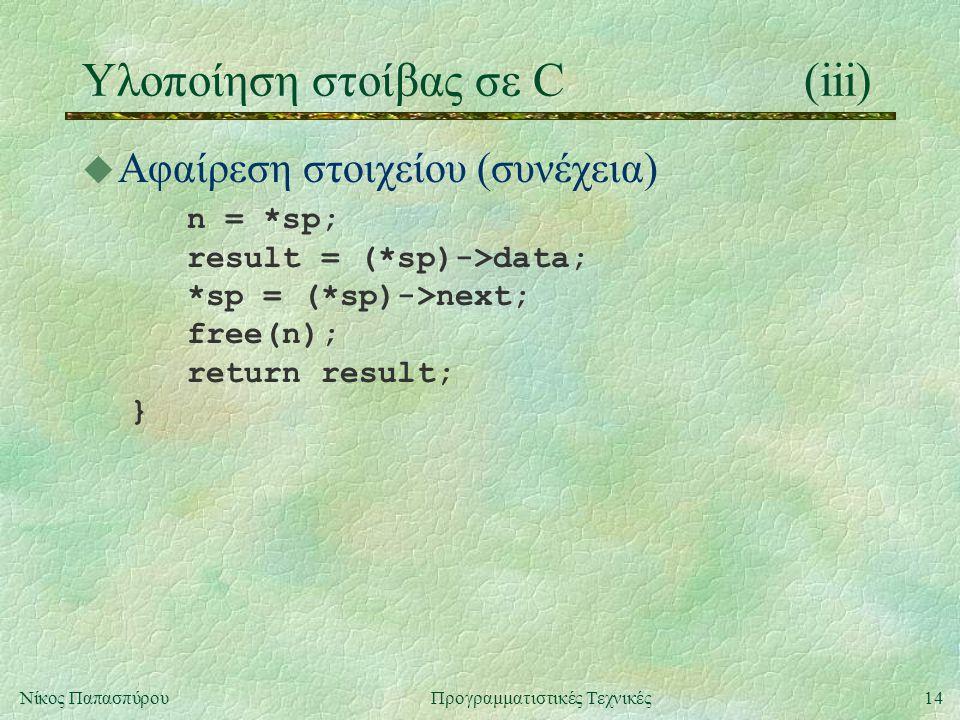 14Νίκος ΠαπασπύρουΠρογραμματιστικές Τεχνικές Υλοποίηση στοίβας σε C(iii) u Αφαίρεση στοιχείου (συνέχεια) n = *sp; result = (*sp)->data; *sp = (*sp)->next; free(n); return result; }