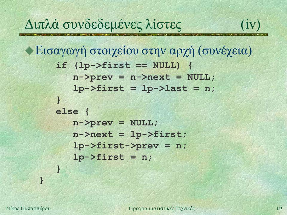 19Νίκος ΠαπασπύρουΠρογραμματιστικές Τεχνικές Διπλά συνδεδεμένες λίστες(iv) u Εισαγωγή στοιχείου στην αρχή (συνέχεια) if (lp->first == NULL) { n->prev = n->next = NULL; lp->first = lp->last = n; } else { n->prev = NULL; n->next = lp->first; lp->first->prev = n; lp->first = n; } }