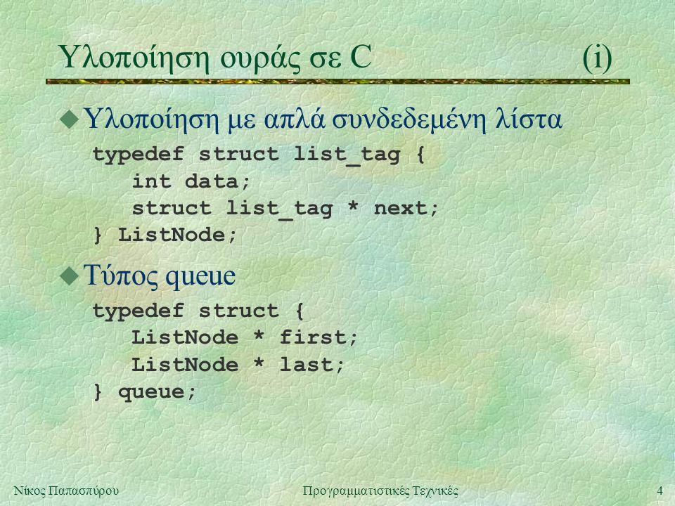 5Νίκος ΠαπασπύρουΠρογραμματιστικές Τεχνικές Υλοποίηση ουράς σε C(ii) u Άδεια ουρά const queue queueEmpty = { NULL, NULL }; u Εισαγωγή στοιχείου void queueInsert (queue * qp, int t) { ListNode * n = (ListNode *) malloc(sizeof(ListNode)); if (n == NULL) { printf( Out of memory\n ); exit(1); }
