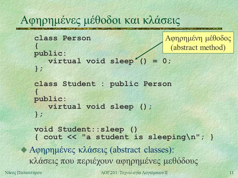 11Νίκος ΠαπασπύρουΛΟΓ201: Τεχνολογία Λογισμικού ΙΙ Αφηρημένες μέθοδοι και κλάσεις class Person { public: virtual void sleep () = 0; }; class Student : public Person { public: virtual void sleep (); }; void Student::sleep () { cout << a student is sleeping\n ; } Αφηρημένη μέθοδος (abstract method) u Αφηρημένες κλάσεις (abstract classes): κλάσεις που περιέχουν αφηρημένες μεθόδους