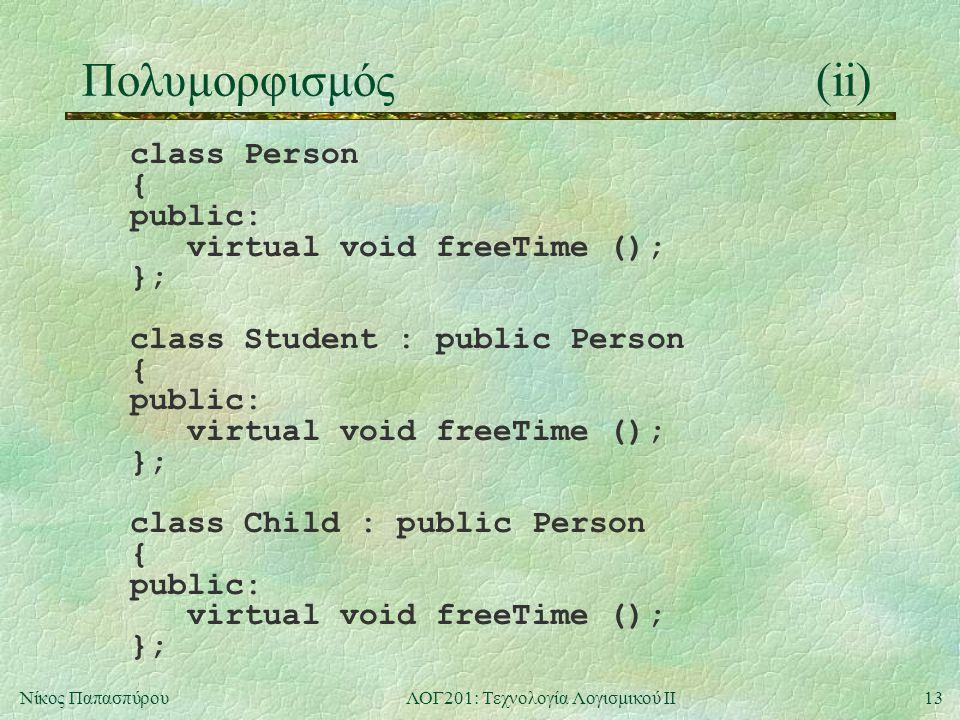 13Νίκος ΠαπασπύρουΛΟΓ201: Τεχνολογία Λογισμικού ΙΙ Πολυμορφισμός(ii) class Person { public: virtual void freeTime (); }; class Student : public Person { public: virtual void freeTime (); }; class Child : public Person { public: virtual void freeTime (); };