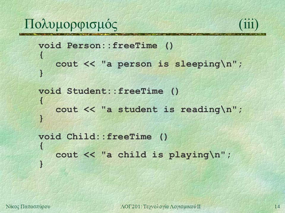 14Νίκος ΠαπασπύρουΛΟΓ201: Τεχνολογία Λογισμικού ΙΙ Πολυμορφισμός(iii) void Person::freeTime () { cout << a person is sleeping\n ; } void Student::freeTime () { cout << a student is reading\n ; } void Child::freeTime () { cout << a child is playing\n ; }