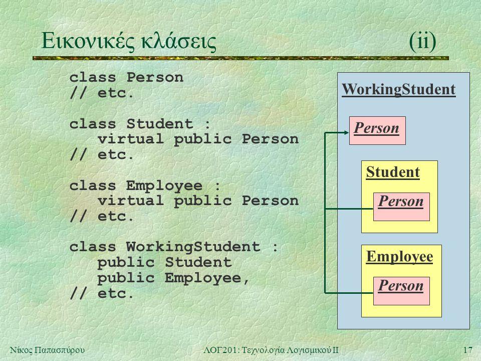17Νίκος ΠαπασπύρουΛΟΓ201: Τεχνολογία Λογισμικού ΙΙ Εικονικές κλάσεις(ii) class Person // etc.