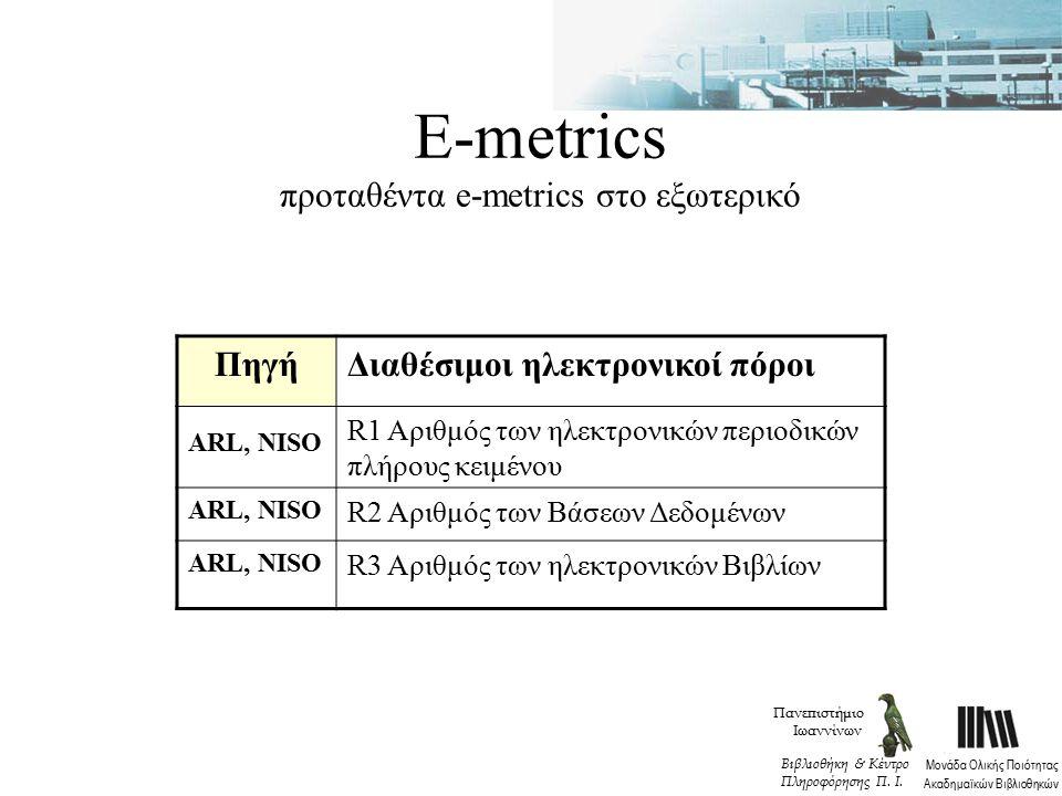 Ε-metrics προταθέντα e-metrics στο εξωτερικό ΠηγήΔιαθέσιμοι ηλεκτρονικοί πόροι ARL, NISO R1 Αριθμός των ηλεκτρονικών περιοδικών πλήρους κειμένου ARL, NISO R2 Αριθμός των Βάσεων Δεδομένων ARL, NISO R3 Αριθμός των ηλεκτρονικών Βιβλίων Πανεπιστήμιο Ιωαννίνων Μονάδα Ολικής Ποιότητας Ακαδημαϊκών Βιβλιοθηκών Βιβλιοθήκη & Κέντρο Πληροφόρησης Π.