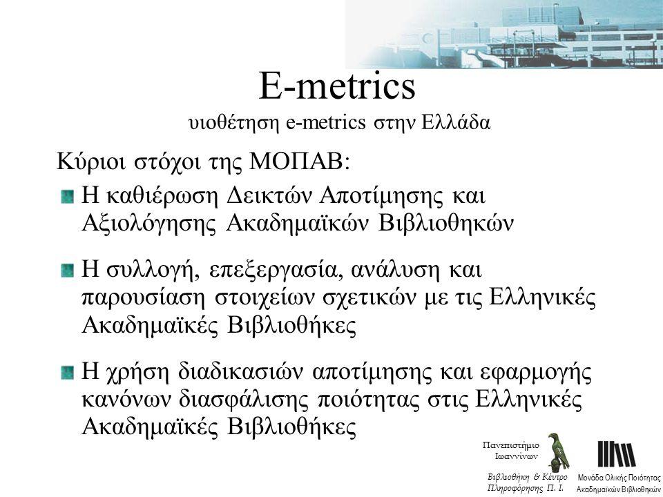 Ε-metrics υιοθέτηση e-metrics στην Ελλάδα Κύριοι στόχοι της ΜΟΠΑΒ: Η καθιέρωση Δεικτών Αποτίμησης και Αξιολόγησης Ακαδημαϊκών Βιβλιοθηκών Η συλλογή, επεξεργασία, ανάλυση και παρουσίαση στοιχείων σχετικών με τις Ελληνικές Ακαδημαϊκές Βιβλιοθήκες Η χρήση διαδικασιών αποτίμησης και εφαρμογής κανόνων διασφάλισης ποιότητας στις Ελληνικές Ακαδημαϊκές Βιβλιοθήκες Πανεπιστήμιο Ιωαννίνων Μονάδα Ολικής Ποιότητας Ακαδημαϊκών Βιβλιοθηκών Βιβλιοθήκη & Κέντρο Πληροφόρησης Π.