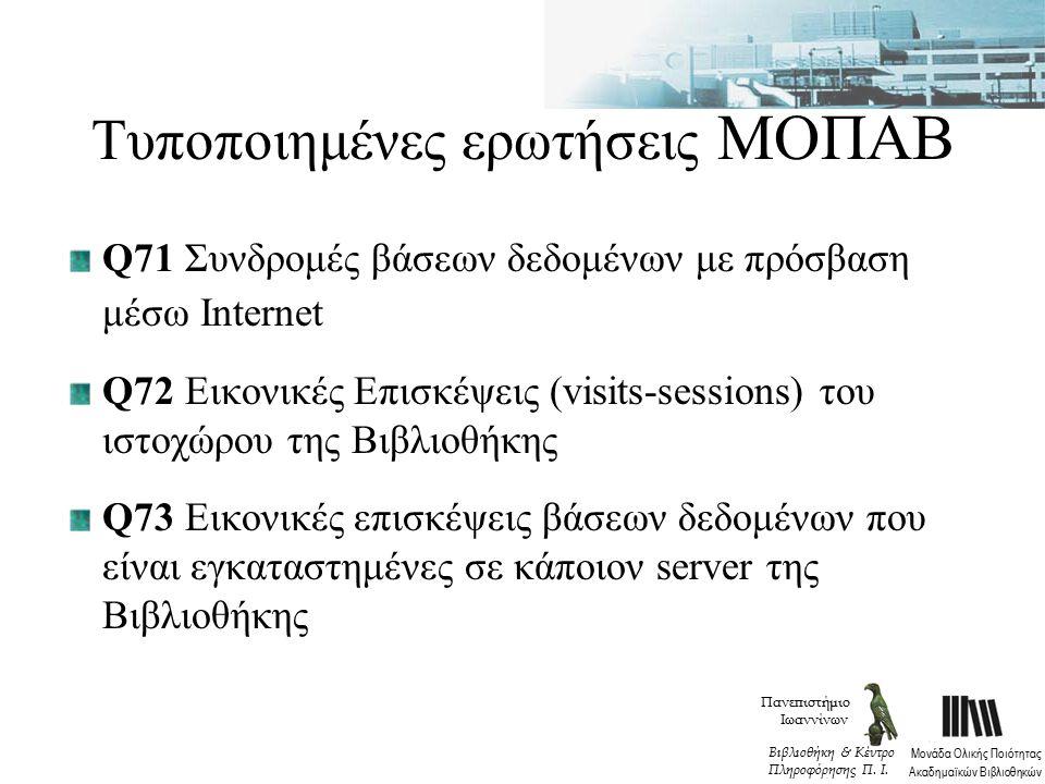 Τυποποιημένες ερωτήσεις ΜΟΠΑΒ Q71 Συνδρομές βάσεων δεδομένων με πρόσβαση μέσω Internet Q72 Εικονικές Επισκέψεις (visits-sessions) του ιστοχώρου της Βιβλιοθήκης Q73 Εικονικές επισκέψεις βάσεων δεδομένων που είναι εγκαταστημένες σε κάποιον server της Βιβλιοθήκης Πανεπιστήμιο Ιωαννίνων Μονάδα Ολικής Ποιότητας Ακαδημαϊκών Βιβλιοθηκών Βιβλιοθήκη & Κέντρο Πληροφόρησης Π.