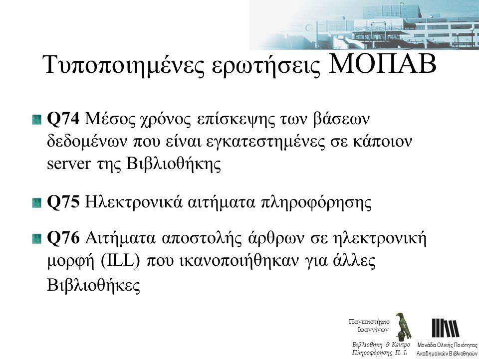 Τυποποιημένες ερωτήσεις ΜΟΠΑΒ Q74 Μέσος χρόνος επίσκεψης των βάσεων δεδομένων που είναι εγκατεστημένες σε κάποιον server της Βιβλιοθήκης Q75 Ηλεκτρονικά αιτήματα πληροφόρησης Q76 Αιτήματα αποστολής άρθρων σε ηλεκτρονική μορφή (ILL) που ικανοποιήθηκαν για άλλες Βιβλιοθήκες Πανεπιστήμιο Ιωαννίνων Μονάδα Ολικής Ποιότητας Ακαδημαϊκών Βιβλιοθηκών Βιβλιοθήκη & Κέντρο Πληροφόρησης Π.