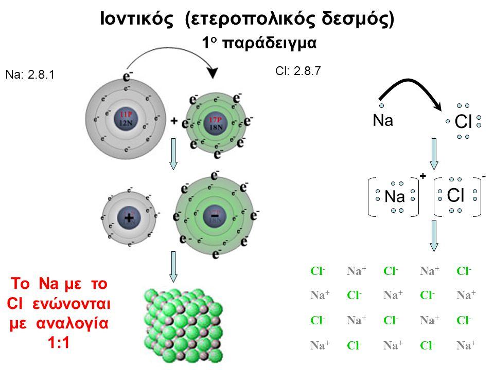 Na Cl Na + Cl - Cl - Na + Cl - Na + Cl - Na + Cl - Na + Cl - Na + Cl - Na + Cl - Na + Cl - Na + Cl - Na + Cl - Na + Na: 2.8.1 Cl: 2.8.7 Ιοντικός (ετεροπολικός δεσμός) 1 ο παράδειγμα Το Na με το Cl ενώνονται με αναλογία 1:1