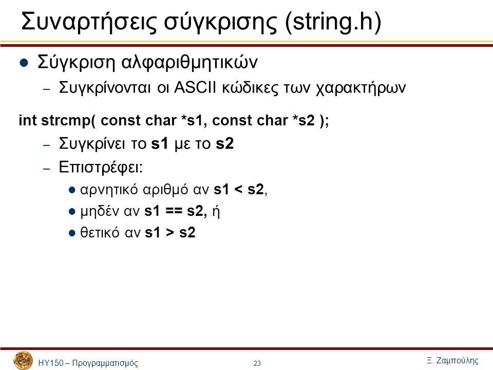 ΗΥ150 – Προγραμματισμός Ξ. Ζαμπούλης 23 Συναρτήσεις σύγκρισης (string.h) Σύγκριση αλφαριθμητικών – Συγκρίνονται οι ASCII κώδικες των χαρακτήρων int st