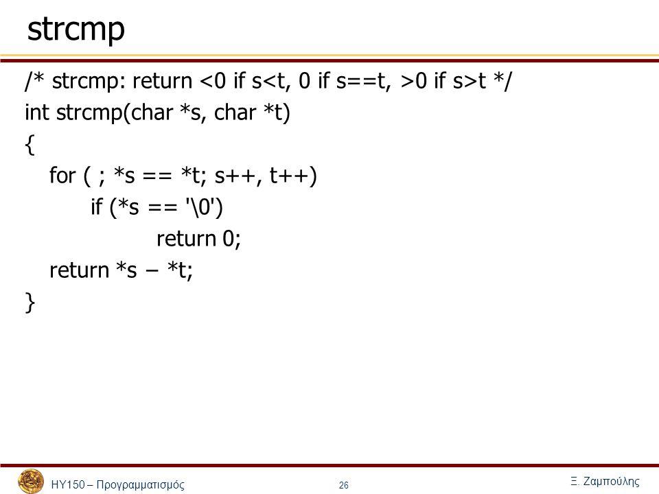 ΗΥ150 – Προγραμματισμός Ξ. Ζαμπούλης 26 strcmp /* strcmp: return 0 if s>t */ int strcmp(char *s, char *t) { for ( ; *s == *t; s++, t++) if (*s == '\0'
