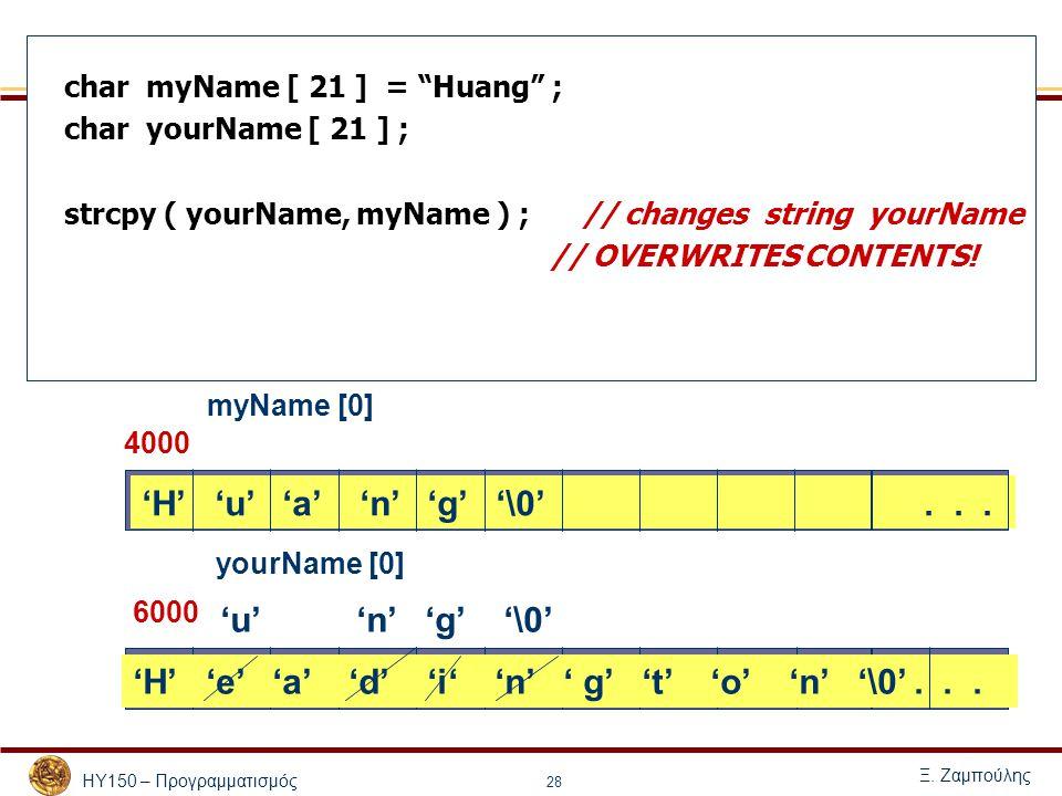 """ΗΥ150 – Προγραμματισμός Ξ. Ζαμπούλης 28 char myName [ 21 ] = """"Huang"""" ; char yourName [ 21 ] ; strcpy ( yourName, myName ) ; // changes string yourName"""