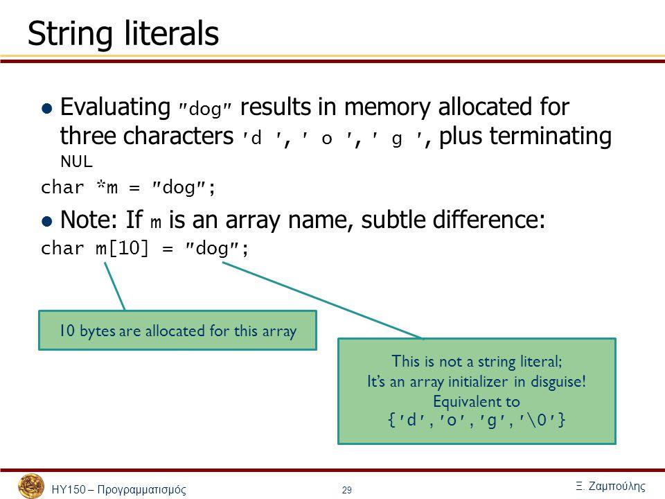 ΗΥ150 – Προγραμματισμός Ξ. Ζαμπούλης 29 String literals Evaluating ″ dog ″ results in memory allocated for three characters ′ d ′, ′ o ′, ′ g ′, plus