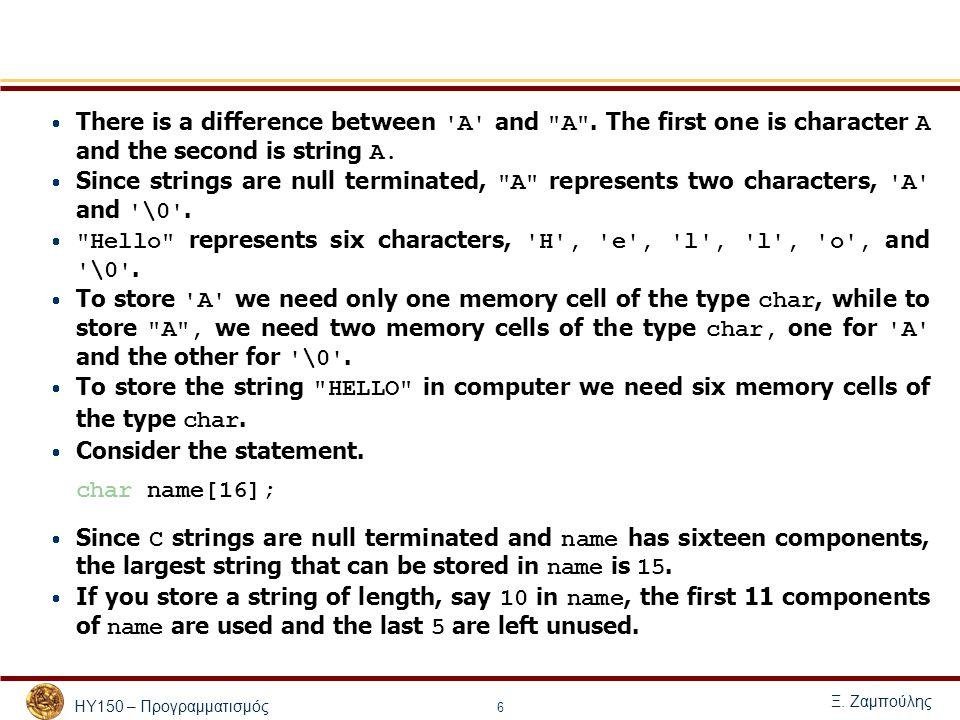 ΗΥ150 – Προγραμματισμός Ξ. Ζαμπούλης 6  There is a difference between 'A' and